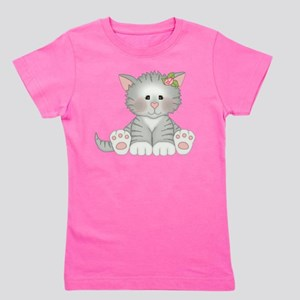 Gray Kitty Girl's Tee