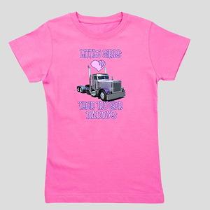 97a92cea Little Girls Love Their Trucker Daddys T-Shirt