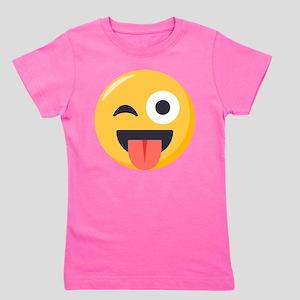 Winky Tongue Emoji Girl's Tee
