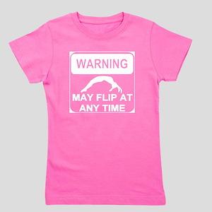 Warning may Flip gymnastics Girl's Tee