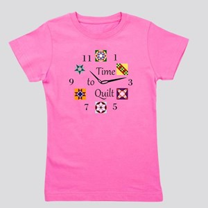 Time to Quilt Clock Girl's Tee