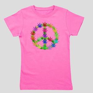 Rainbow Peace Marijuana Leaf Art Girl's Tee