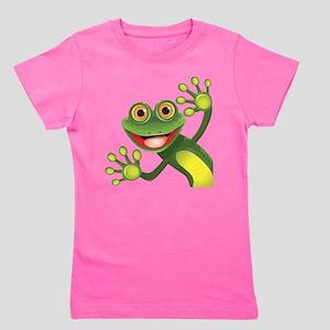 Happy Green Frog Girl's Tee