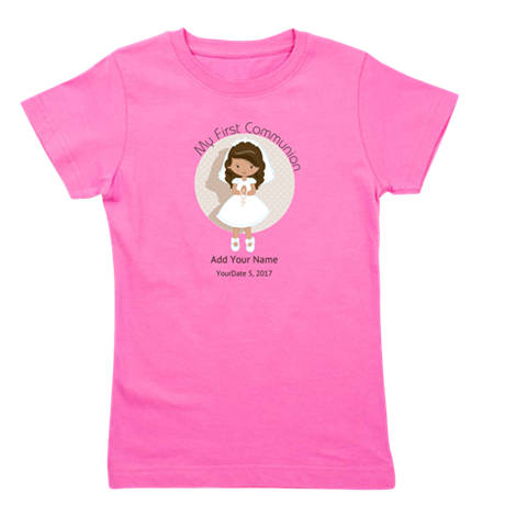 First Communion Brown Hair Girl's Tee