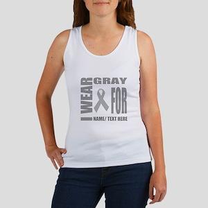 Gray Awareness Ribbon Customized Women's Tank Top