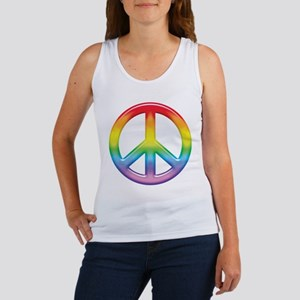 Gay Pride Rainbow Peace Symbol Women's Tank Top