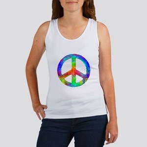 Multicolored Peace Sign Women's Tank Top