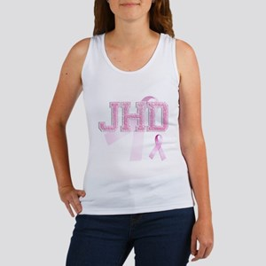 JHD initials, Pink Ribbon, Women's Tank Top