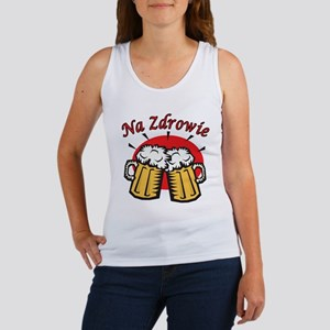Na Zdrowie Toast With Beer Mugs Women's Tank Top
