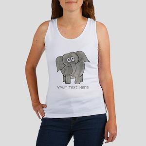 Elephant. Custom Text. Women's Tank Top