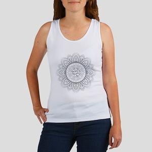 Yoga Mandala Henna Ornate Ohm Crown Black Tank Top