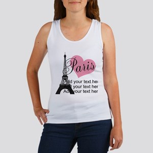custom add text paris Women's Tank Top