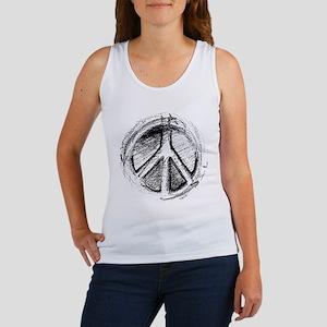 Urban Peace Sign Sketch Women's Tank Top