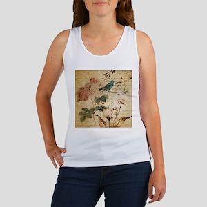 teal bird vintage roses swirls botanical Tank Top