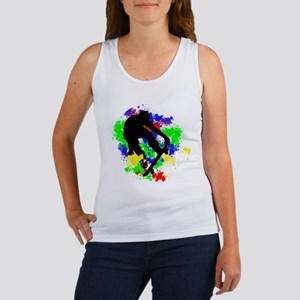 Graffiti Paint Splotches Skateboarder Tank Top