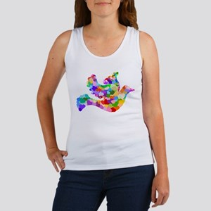 Rainbow Dove of Hearts Women's Tank Top