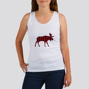 Plaid Moose Animal Silhouette Tank Top