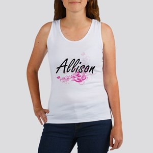 Allison Artistic Name Design with Flowers Tank Top