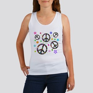 Peace symbols and flowers pat Women's Tank Top