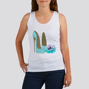 Turquoise Lace Stilettos and Rose Art Tank Top