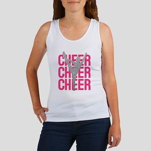 Pink Cheer Glitter Silhouette Women's Tank Top