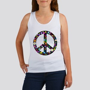 Hippie Flowery Peace Sign Women's Tank Top
