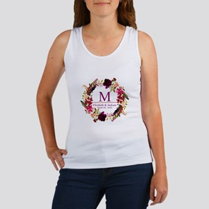 Boho Wreath Wedding Monogram Tank Top