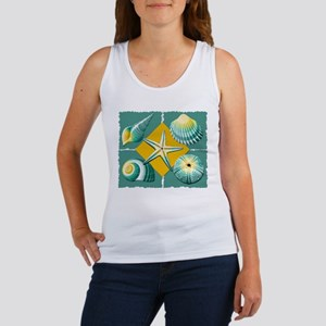 Collage of Beach Seashells Green and Yellow Tank T