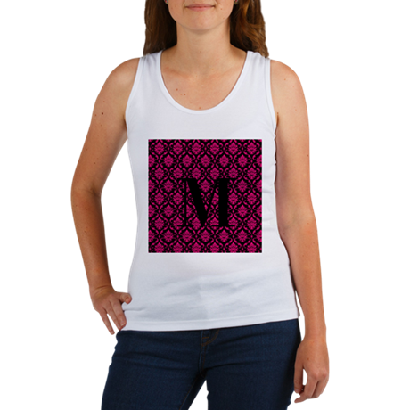 Personalizable Pink and Black Damask Initial Tank
