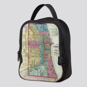 Vintage Map of Chicago (1869) Neoprene Lunch Bag