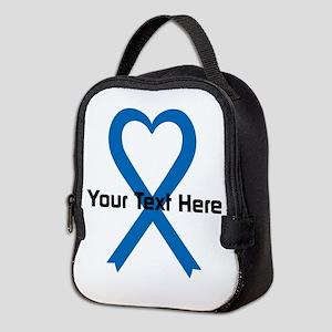 Personalized Blue Ribbon Heart Neoprene Lunch Bag
