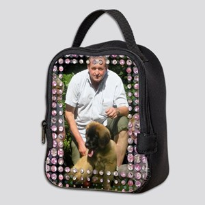 Personalizable Pink Bling Frame Neoprene Lunch Bag