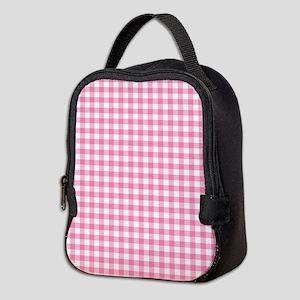 Pink Gingham Pattern Neoprene Lunch Bag
