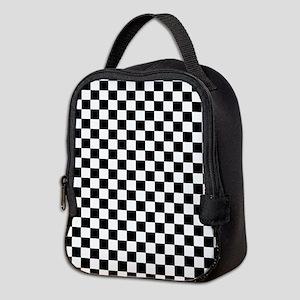 Black White Checkered Neoprene Lunch Bag