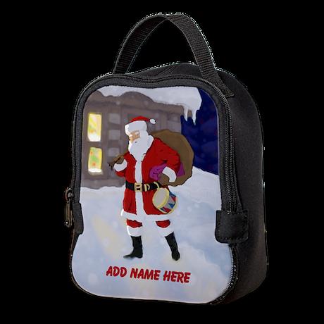 Personalized Santa on Xmas Eve Neoprene Lunch Bag