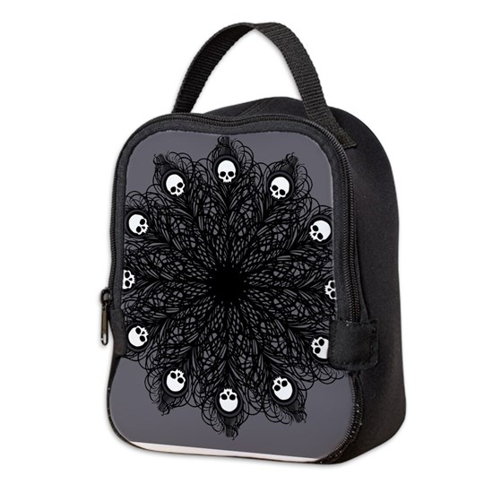 ea3030af0d74 Gothic Black Peacock Feather Neoprene Lunch Bag