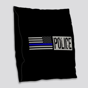 Police: Police (Black Flag, Bl Burlap Throw Pillow