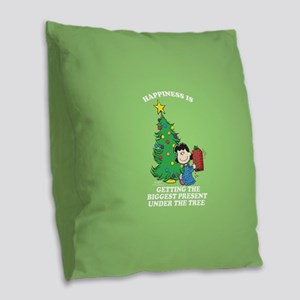 Peanuts Biggest Present Under Burlap Throw Pillow