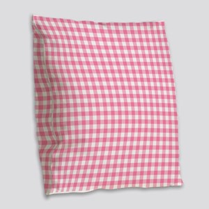 Pink Gingham Pattern Burlap Throw Pillow