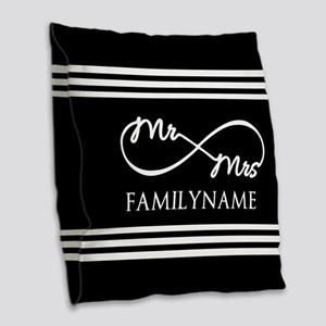 Black and White Custom Infinit Burlap Throw Pillow