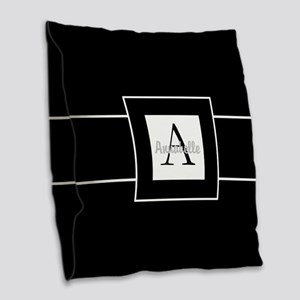 Black White Monogram Burlap Throw Pillow