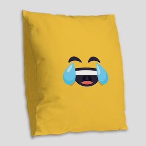 Cry Laughing Emoji Face Burlap Throw Pillow