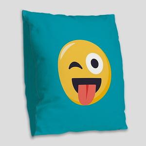 Winky Tongue Emoji Burlap Throw Pillow