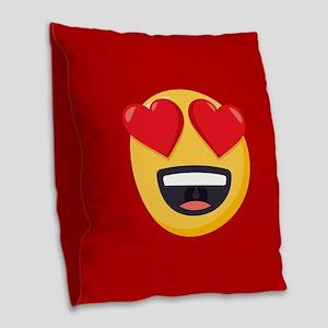 Heart Eyes Emoji Burlap Throw Pillow
