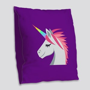 Unicorn Emoji Burlap Throw Pillow