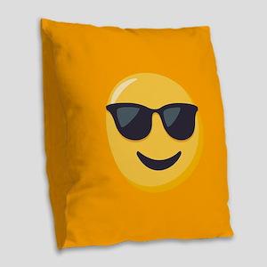 Sunglasses Emoji Burlap Throw Pillow
