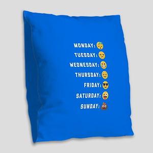 Emoji Days of the Week Burlap Throw Pillow
