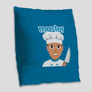 Emoji Master Chef Burlap Throw Pillow