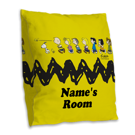 Peanuts Running Personalized Burlap Throw Pillow