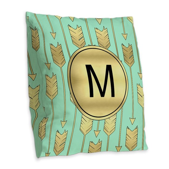 Boho Mint and Faux Gold Arrows Monogram